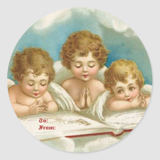 Vintage three cute praying angelsgift tags classic round sticker