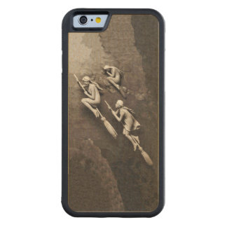 Vintage Three Halloween Witches Flying Brooms Carved Maple iPhone 6 Bumper Case
