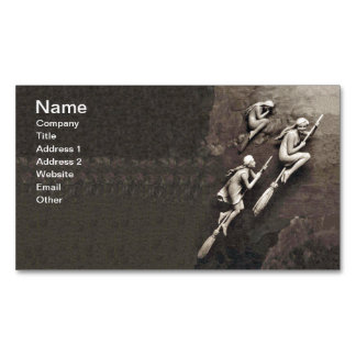 Vintage Three Halloween Witches Flying Brooms Magnetic Business Card