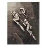 Vintage Three Halloween Witches Flying Brooms Postcard