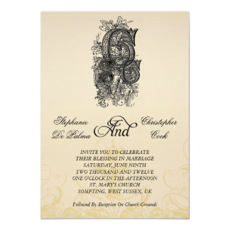 Vintage Three Initials Monogram Wedding Invitation