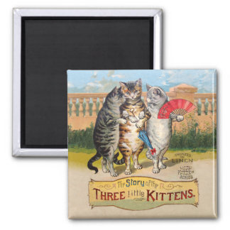 Vintage Three Little Kittens Lost Mittens 2 Inch Square Magnet