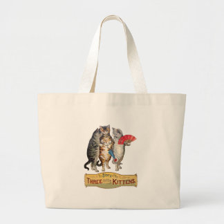 Vintage Three Little Kittens Lost Mittens Plain Large Tote Bag