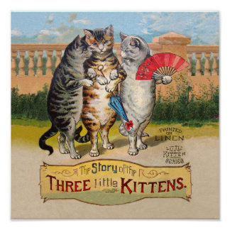 Vintage Three Little Kittens Lost Mittens Poster