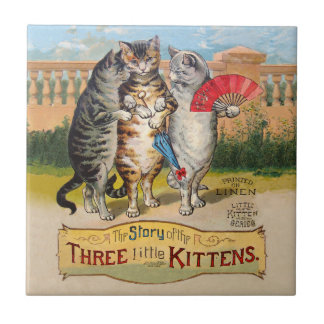 Vintage Three Little Kittens Lost Mittens Small Square Tile