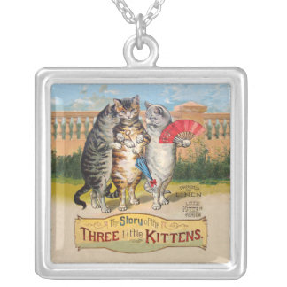 Vintage Three Little Kittens Lost Mittens Square Pendant Necklace