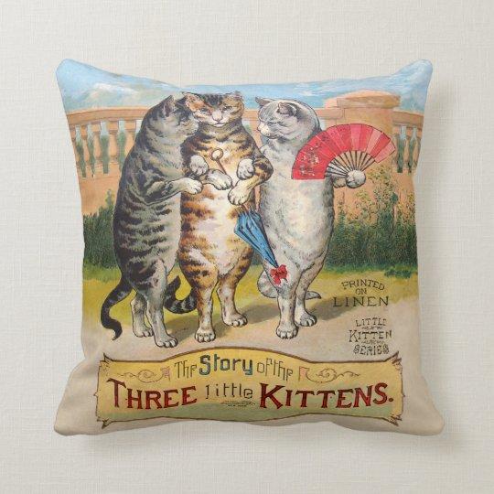 Vintage Three Little Kittens Lost Mittens Throw Pillow
