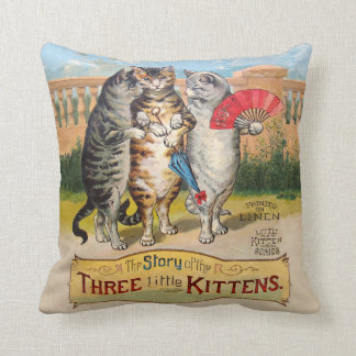 Vintage Three Little Kittens Lost Mittens Throw Pillow