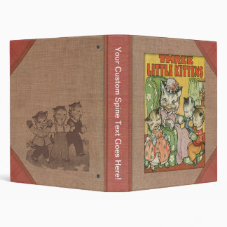Vintage Three Little Kittens Old Book Cover Style 3 Ring Binder