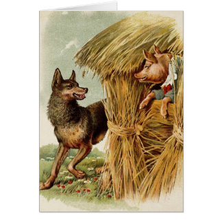 Vintage Three Little Pigs Big bad Wolf and Pig Greeting Card