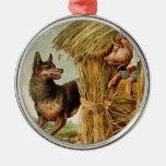 Vintage Three Little Pigs; Big bad Wolf and Pig Christmas Tree Ornaments