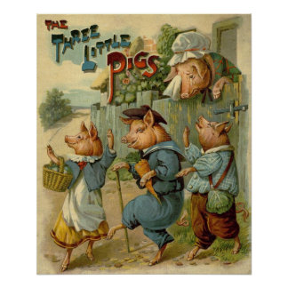 Vintage Three Little Pigs, Mom is Sad and Crying Posters
