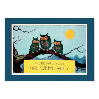 Vintage three owls in a tree and moon Halloween Card