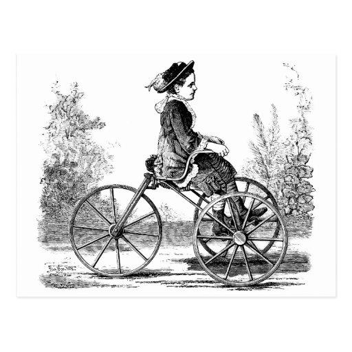 Vintage Three Wheel Bicycle Trike Postcard