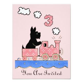 "Vintage Three Year Old Birthday Girl Invitation 4.25"" X 5.5"" Invitation Card"