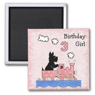 Vintage Three Year Old Birthday Girl Magnet