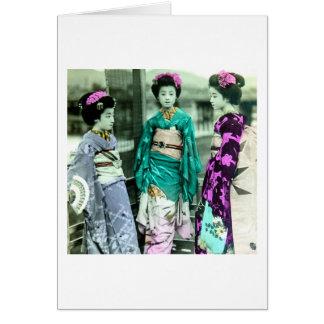 Vintage Three Young Geisha in Old Japan Card