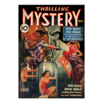 Vintage Thrilling Mystery Mad Scientist Pulp Ficti Poster