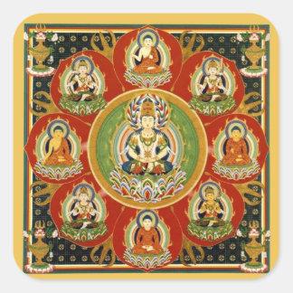 Vintage Tibetan Tantric Buddhism Buddha Mandala Square Sticker