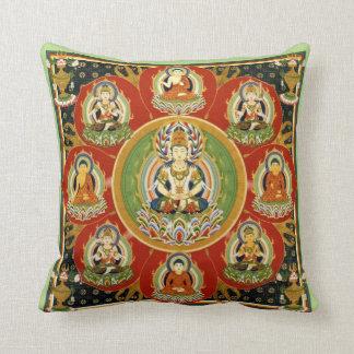 Vintage Tibetan Tantric Buddhism Buddha Mandala Throw Pillow