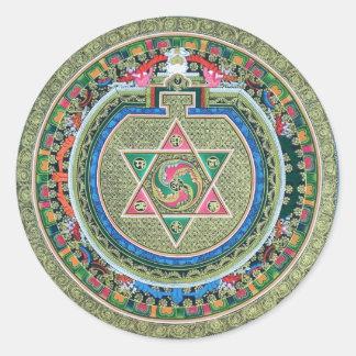 Vintage Tibetan Tantric Buddhism Mandala Classic Round Sticker