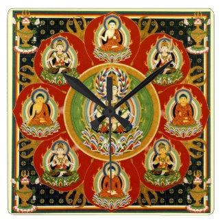 Vintage Tibetan Tantric Buddhism Mandala Square Wallclock