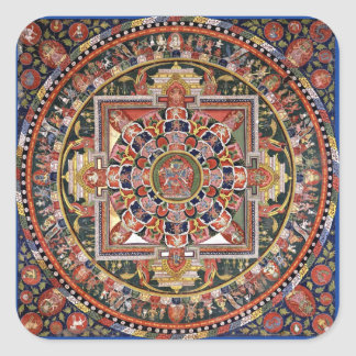 Vintage Tibetan Tantric Buddhism Mandala Square Sticker