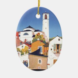Vintage Ticino Tessin Canton Switzerland Ceramic Ornament
