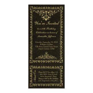 "Vintage Ticket 50th Birthday/Party Invitations 4"" X 9.25"" Invitation Card"