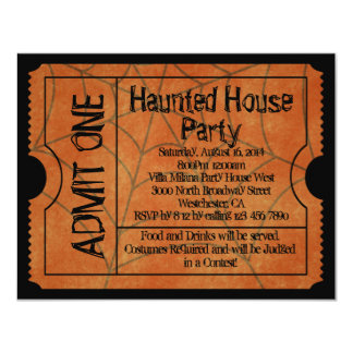 Vintage Ticket Haunted House Halloween 4.25x5.5 Paper Invitation Card