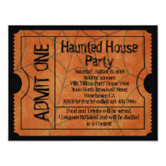 Vintage Ticket Haunted House Halloween Card at Zazzle