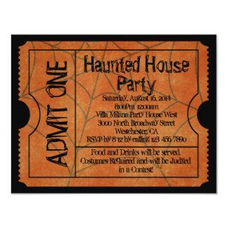 Vintage Ticket Haunted House Halloween Card