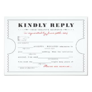 Vintage Ticket Libs Response Card