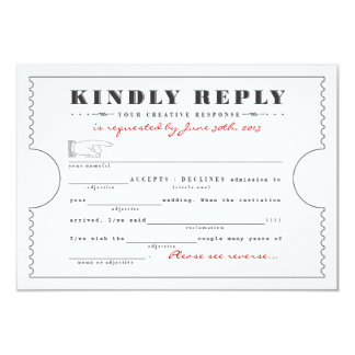Vintage Ticket Mad Libs Response Card Custom Announcements