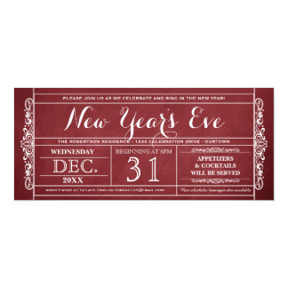 Vintage Ticket New Year's Eve Party Invitations