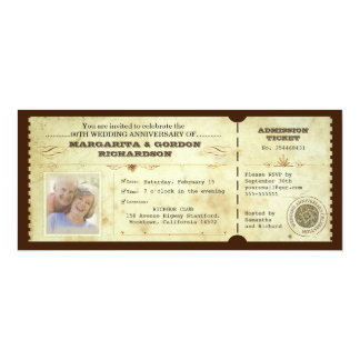 "vintage ticket photo anniversary invitations 4"" x 9.25"" invitation card"