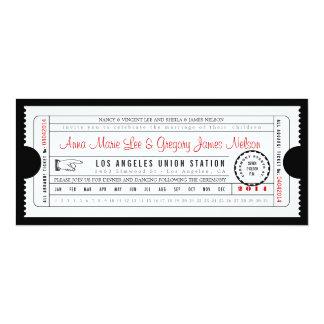 Vintage Ticket Punch Card Invitation in Black