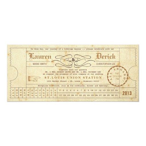 Vintage Ticket Punch Card Tea Length Invitation Zazzle