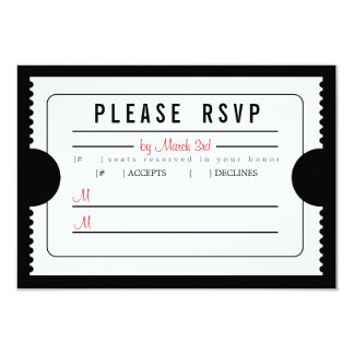 Vintage Ticket RSVP in Black Card