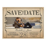 Vintage Ticket Save the Date Postcards