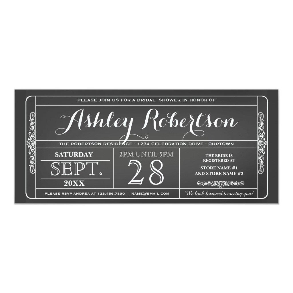 Vintage Ticket Style Bridal Shower Invitations