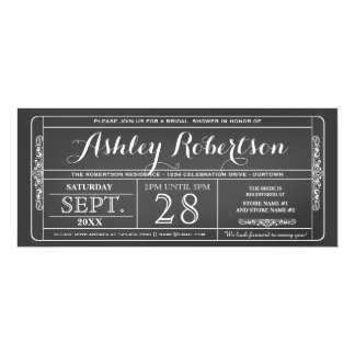 "Vintage Ticket Style Bridal Shower Invitations 4"" X 9.25"" Invitation Card"