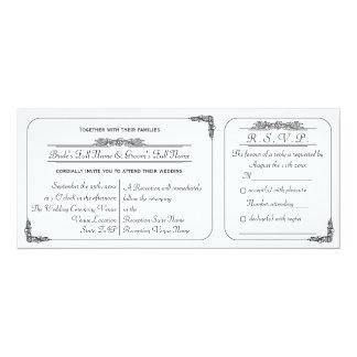Vintage Ticket Style Wedding Invitation and RSVP