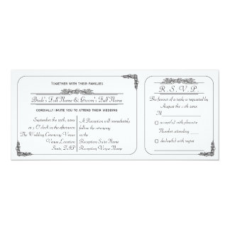 "Vintage Ticket Style Wedding Invitation and RSVP 4"" X 9.25"" Invitation Card"