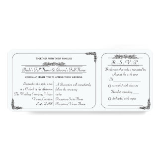 Vintage Ticket Style Wedding Invitation with RSVP