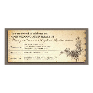 vintage ticket typographic anniversary invitations
