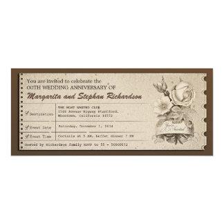 vintage ticket wedding anniversary invitations