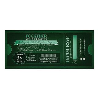 """vintage ticket wedding invitations 4"""" x 9.25"""" invitation card"""