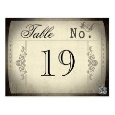 Vintage Ticket Wedding Table Numbers Postcard at Zazzle