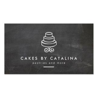 Vintage Tiered Cake Design on Chalkboard Bakery Business Card